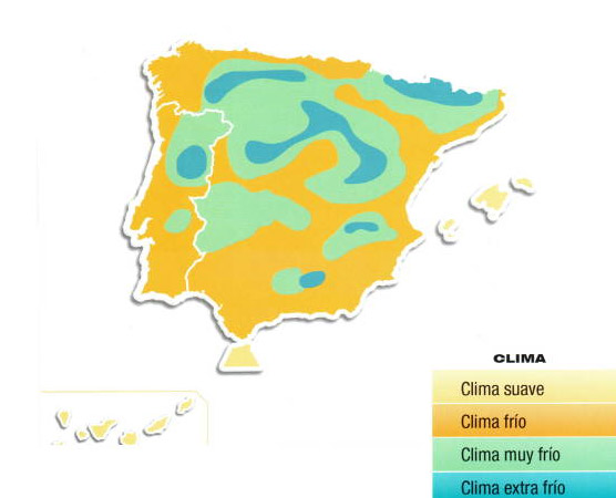 Zonas climáticas en España
